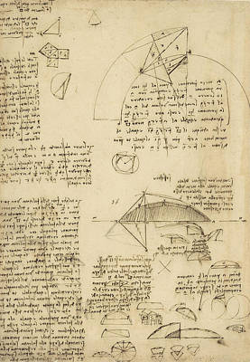 Small Front View Of Church Squaring Of Curved Surfaces Triangle Elmain Or Falcata Poster by Leonardo Da Vinci