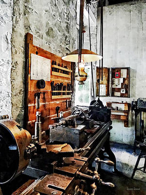 Small Lathe In Machine Shop Poster by Susan Savad