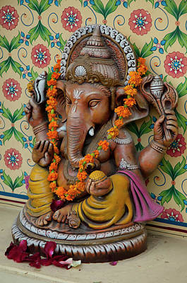Small Shrine To Ganesh, Jaipur Poster by Inger Hogstrom