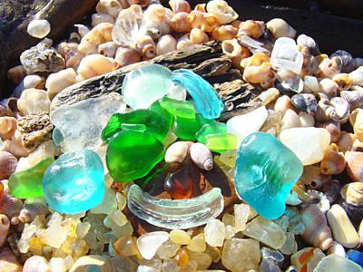 Smiley Face Beach Seaglass Blue Green Art Prints Poster