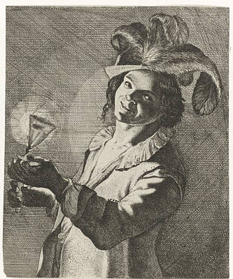 Smiling Boy With A Glass In Hand, Possibly Jan Matham Poster