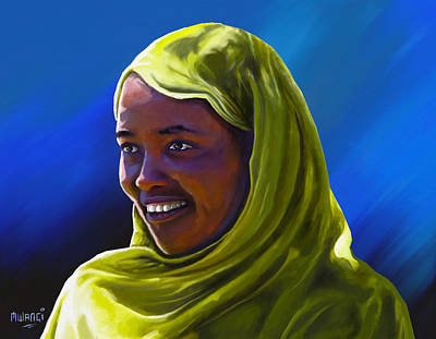 Poster featuring the painting Smiling Lady by Anthony Mwangi