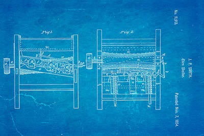 Smith Corn Sheller Patent Art 1854 Blueprint Poster by Ian Monk