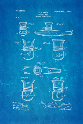 Smith Kazoo Musical Toy Patent Art 1902 Blueprint Poster by Ian Monk