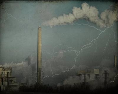 Smoke Stack Lightening In The City Sky Poster by Gothicrow Images