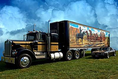 Smokey And The Bandit Tribute 1973 Kenworth W900 Black And Gold Semi Truck And The Bandit Transam Poster by Tim McCullough