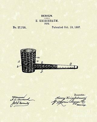 Smoking Pipe 1897 Patent Art  Poster