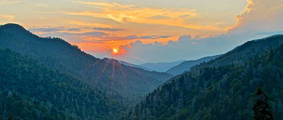 Smoky Mountain Sunset Poster by Frozen in Time Fine Art Photography