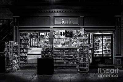Snack Shop Bw Poster by Jerry Fornarotto