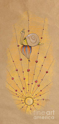 Snail And Ladybugs Poster by David Breeding