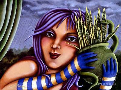 Poster featuring the painting Snake Snakeplant by Valerie White