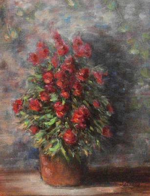 Poster featuring the painting Snapdragons by Katalin Luczay