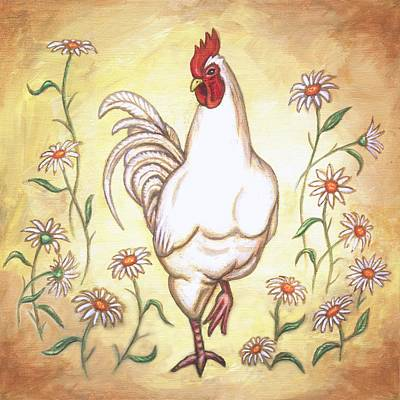 Snooty The Rooster Two Poster by Linda Mears