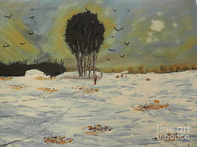 Poster featuring the painting Snow At Christmas by Pamela  Meredith