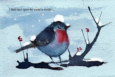 Poster featuring the painting Snow Bird From Needles by Anne Duke