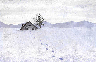 Snow Cabin Poster by Steve Dininno