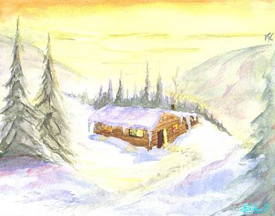 Poster featuring the painting Snow Cabin Welcome by Sherril Porter