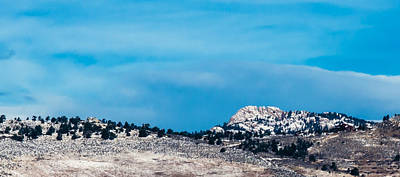 Snow-capped Horsetooth Rock Poster by Harry Strharsky