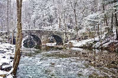 Snow Coming Down On The Wissahickon Creek Poster by Bill Cannon