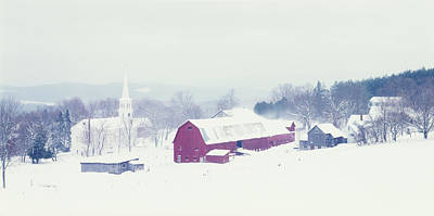 Snow Covered Barn And A Church Poster