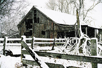 Snow Covered Barn Poster