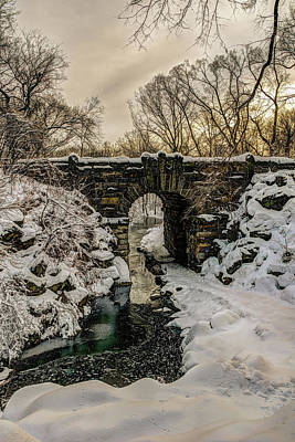 Snow-covered Glen Span Arch, Central Poster