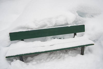 Snow-covered Green Bench In Winter With Lots Of Snow Poster