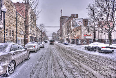 Snow Covered High Street And Cars In Morgantown Poster