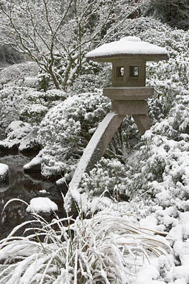 Snow-covered Stone Lantern, Portland Poster by William Sutton