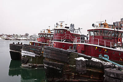 Snow Covered Tugs Poster