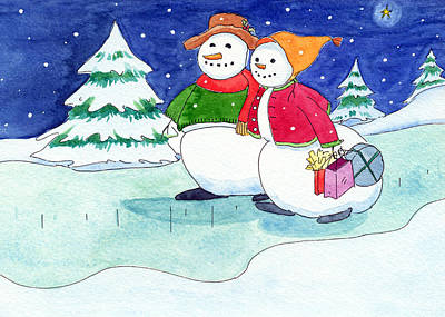 Snow Folks - Shoppers Poster by Katherine Miller