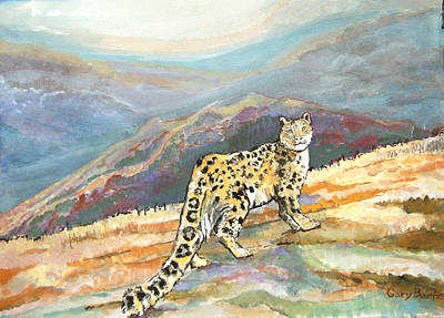 Snow Leopard In The High Mountains Poster by Gary Beattie