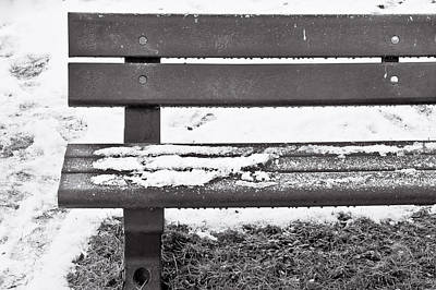 Snow On Bench Poster by Tom Gowanlock