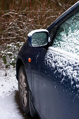 Snow On Car Poster