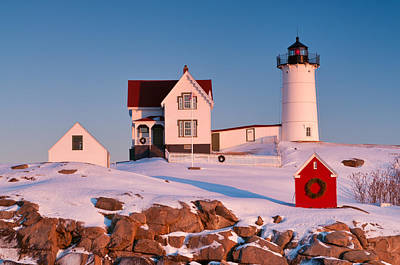 Snow On Nubble Light Poster by Michael Blanchette
