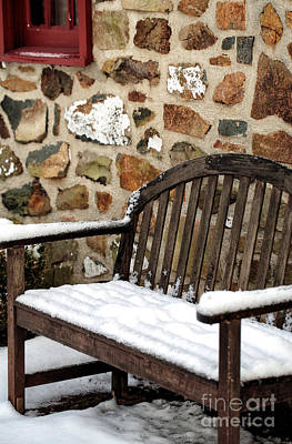 Snow On The Bench Poster by John Rizzuto