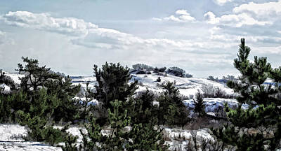 Poster featuring the photograph Snow On The Dunes Photo Art by Constantine Gregory