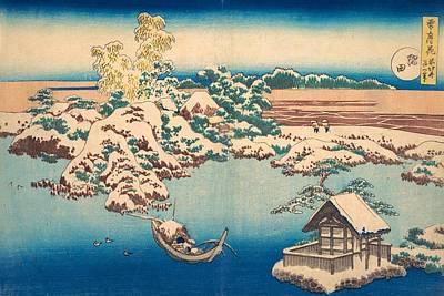 Snow On The Sumida River Poster by Katsushika Hokusai