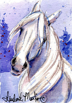Poster featuring the painting Snow Pony 3 by Linda L Martin