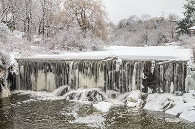Snow Sleet And Freezing Rain On The Falls Poster by Stroudwater Falls Photography