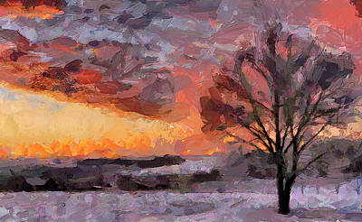 Snow Tree Sunset Poster by Yury Malkov