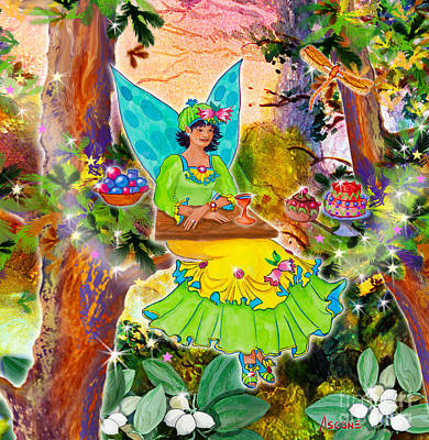 Snowberry Fairy Yolanda Fairfield Poster by Teresa Ascone