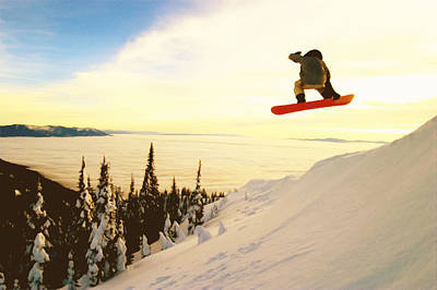 Snowboard Jumping In High Mountains Poster