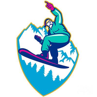 Snowboarder Holding Snowboard Alps Retro Poster