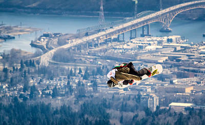 Snowboarding Over The City Poster by Alexis Birkill