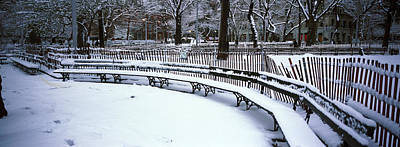Snowcapped Benches In A Park Poster