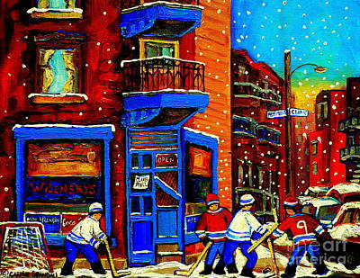 Snowday Hockey Practice Wilenskys Corner Fairmount And Clark Montreal City Scene Carole Spandau Poster by Carole Spandau