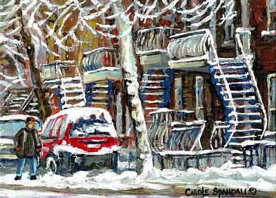 Snowed In January Trees Red Car In Verdun Winter City Scene Montreal Art Carole Spandau Poster