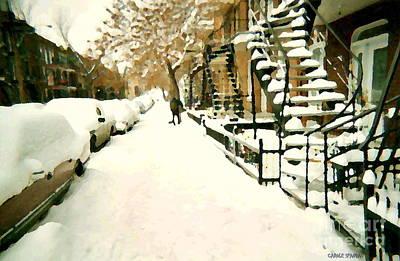 Snowed In Verdun Montreal Paintings Urban Winter City Scenes Art Carole Spandau Street Scene Artist Poster