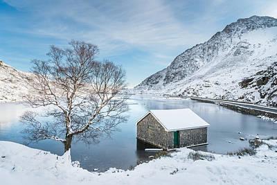 Snowfall At Llyn Ogwen Poster by Christine Smart